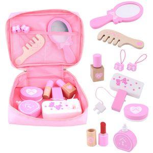 Çocuk Ahşap Güzellik Makyaj Oyuncaklar Simülasyon Oyun Evi Oyuncaklar Dresser Kız Prenses Kozmetik Çanta Set Kızlar Pretend Oyuncak Hediye 210308