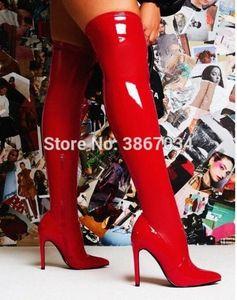 Shooegle Slim Бедра Высокие Сапоги Женщин Патентная Кожа Высокие каблуки Указанные Носки Overkee Ботинки Мода Дамы Botas Mujer Red Black P0Q8 #