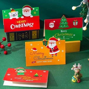 Greeting Cards Merry Christmas Gift Card Xmas Blessing Envelope Santa Claus Year Postcards NHB11311