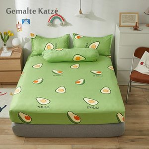 Sheets & Sets 1PC Queen Fitted Sheet King Size With Elastic Bed Cover For Double Avocado Pattern Mattress Covers(no Case) 2021