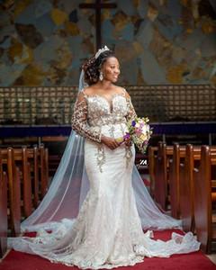 Arabic Aso Ebi Luxurious Lace Beaded Wedding Dresses Sheer Neck Mermaid Bridal Dresses Long Sleeves Wedding Gowns Vestido De Novia