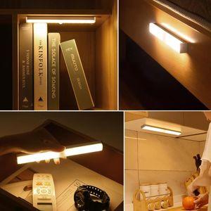 Ímã USB recarregável LED lâmpada lâmpada lâmpada sensor de movimento lendo luzes noite construir lâmpada portátil bateria para quarto