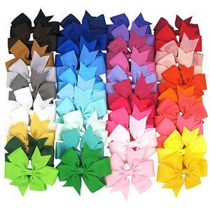 8cm 40 Colors Baby Girl Grosgrain Ribbon Bows Hair Clip Children Kids Women Barrettes Headwear Hair Accessories