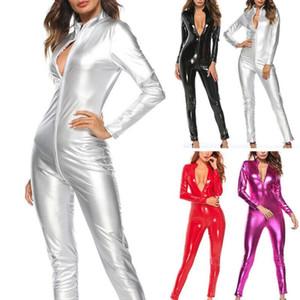 Femmes Solid Color Color Fermeture à glissière Faux Jumpsuit en cuir BodySuit Clubwear Sleel Clubwear Idéal pour les tenues de club de fête Cosplay