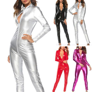 Mujeres Sólido Color Zipper Faux Patente de Patente Jumpsuit Body Trady Clubwear Ideal para Trajes Club Party Cosplay