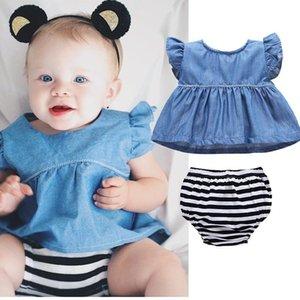 Newborn Baby Girl Set Baby Shirts+Shorts Clothing Set Girl Costume Denim Stripes Clothes