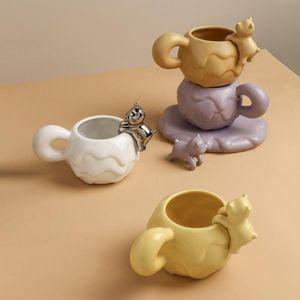 Tazas 465ml Taza creativa de cerámica de Desgin Cafetos lindos Taza de café Tazas de agua Té de la tarde Té y platillo Set Friend Regalo