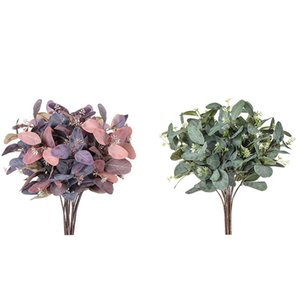 Eucalyptus Stems 8Pcs Silk Seeded Greenery Leaves Real Contact Leaf Fake Eucalyptus Branches Sprigs for Wedding