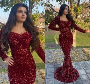 Celebrity Sukienki Squined Burgundy Evening Dresses Long Sleeves Sweetheart Prom Dress Vestido De Fiesta De Boda Party Gowns
