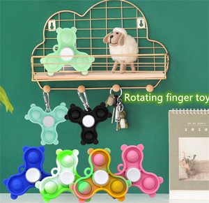 Decompression fingertip spinning top toy push toys rotating key ring