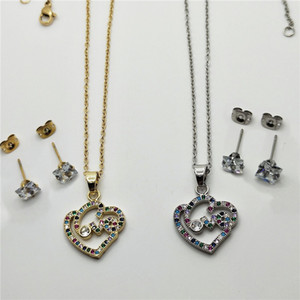 2021 Designer Design Fashion Charm Designer Female Jewelry Gold plated Color Rhinestone Heart shaped Drop Earrings