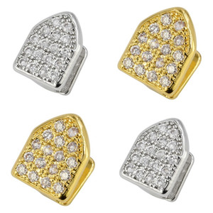 Iced Out Zircon Gold Teeth Grillz Micro Pave Top and Bottom Grills Single Tooth Caps Vampire Tooth Jewelry 173 R2