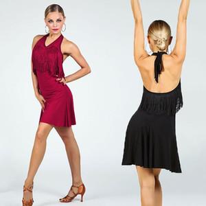 Fringe Robe de danse latine pour femme Sans manches Salsa Pratique Costume Salle de bal Robes De Stade Tango Sumba Rumba Dance Wear JL1100