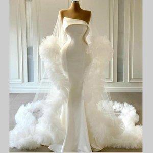 Long Train Ruffles Mermaid Wedding Dresses 2021 New Strapless Satin Ivory Bridal Gowns Vestidos de Novia Bohemian Beach Wedding Dress