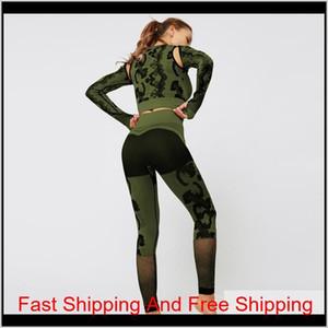 Camouflage Seamless Women Yoga Set Long Sleeve Top High Waist Leggings Gym Clothes Sport Suit Gym Suit Fitnes qylgFi pets2010