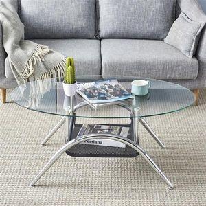 Wohnzimmermöbel Untere Eisenblech Crimpen Temperiertes Glas Edelstahl Beine ovalen Kaffee-Teetisch