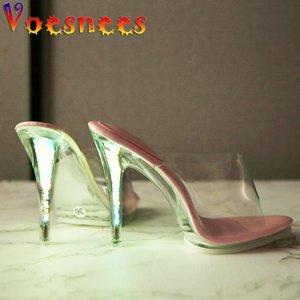 Voesnees Zapatillas Mujeres 2021 Nuevo exterior Tacones transparentes Plataforma Super High Tacones delgados Noctilucent Shine en Zapatos de noche Mujer