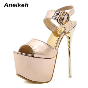 Aneikeh Fashion High Heel Women's Shoes 2021 Summer Peep Toe Sandals Party Sexy Open Platform Patent Leather Buckle Strap Solid