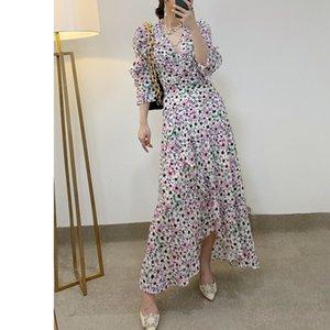 2021 New Primavera Vero Floral Impresso Envoltrio Meia Manga Babados COM Decote EM V Lao Vestido Vestido Feminino U3VT