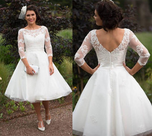 2021 Modest Lace Short Wedding Dresses With Half Sleeves Outdoor Bridal Gowns Jewel Neck France Lace Knee Length Vestido de Noiva WHJ648