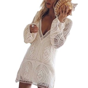 FY Women Long Sleeve Lace Sheer Dress Fashion Sexy Cutout Deep V-neck Loose Midi Dress Beach Cover Ups Bohemian Dresses G1011