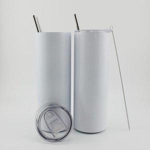 20 унций пустой белый сублимация прямая тощая тонкая тонкая чашка из нержавеющей стали двойной стены вакуум с крышкой металлическая соломинка