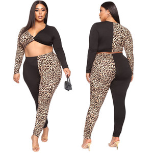 Sexy V Neck 2 Pieces Plus Size Women Leopard Print Patchwork Two Piece Set Long Sleeve Casual Tracksuits Skinny Elastic Outfits