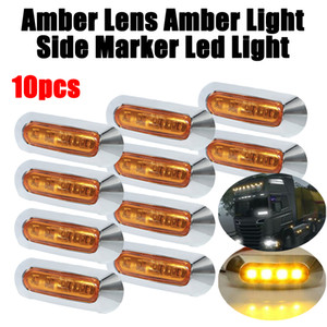 SUHU 10Pcs Amber 4 SMD 12 24V LED Side Marker Tail Light Clearance Lamp Truck Trailer Side Marker Indicators Car Signal Lights