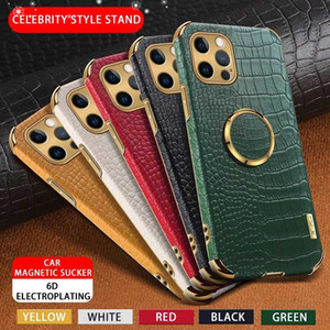 Luxury Business Leather Crocodile Texture Phone Case With Magnetic Ring Bracket For iPhone 12 11 Pro Max Xs Xr 6 Plus protective cases MQ100
