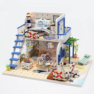 Cutebee Diy House Miniature with Furniture Led Music Dust Cover Model Building Blocks Toys for Children Casa De Boneca M032