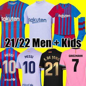 Camisetas de fútbol del FC Barcelona MESSI KUN AGUERO BARCA 20 21 22 ANSU FATI 2021 2022 GRIEZMANN F. DE JONG DEST kit de camisetas de fútbol camiseta hombres niños conjuntos