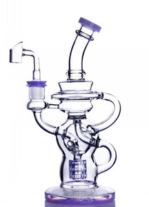 Quality Heady Recycler Glass Bong Water Pipe Colorful Oil Rigs Colored Water Dab Oil Burner Rigs 11inch Height With Perc Free Shipping