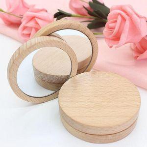 Madera Pequeño espejo redondo espejo portátil de bolsillo de madera Mini maquillaje de maquillaje Boda Favor de regalo Logotipo personalizado