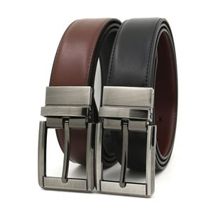 3.5 cm rotating pin buckle men's leather belt two-color casual belt