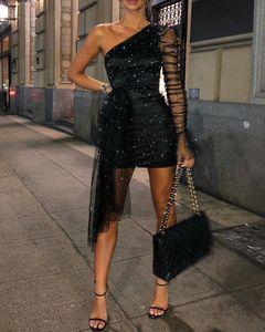 Ninimour brillo un hombro pura malla vestido de fiesta ruchada mujer elegante cubierto club nocturno mini vestido vestidos de fiesta