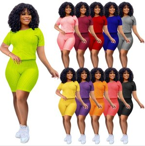 Women Trasuit Summer Two Piec Set Digner 2021 Casual Short Sve Outfits Solid Color Ladi Fashion Loose T Shirt Jogging Suits free DHL