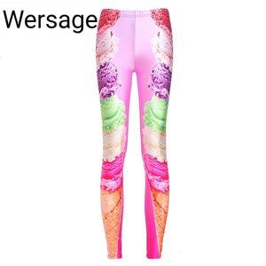 Europeo e americano Autumn New Style Retro High Life Color Color Color Abl Abstract Print Stretch Leggings Slim