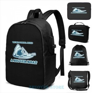 Backpack Graphic Print We're Gonna Need A Bigger Boat (JAWS) USB Charge Men School Bags Women Cosmetic Bag Travel Laptop