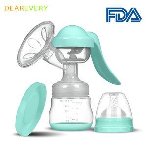 Manual Breast Pump Baby Nipple Suction Feeding Milk Bottles Breasts Pumps Bottle Food grade silicone BPA free Baby Bottle 210226