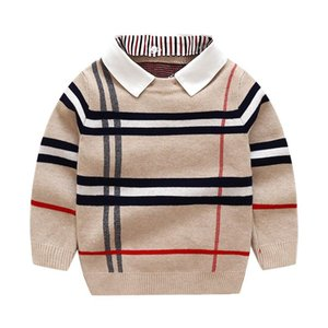 2021 Autumn Winter Boys Sweater Knitted Striped Sweater Toddler Kids Long Sleeve Pullover Children Fashion Sweaters Clothes