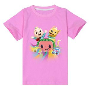 Summer Cartoon Children's Short Sleeve T-shirt Cotton Cocomellon Jj Boys Pattern Casual Sports Baby Kids Round Neck Top Tees Clothes G832EDM