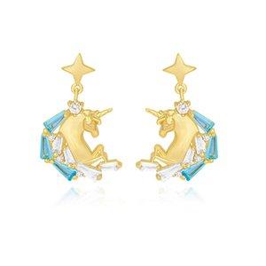 Pendientes Plata S925 Con Aguja Diamante Unicornio, Pendientes Colgantes Moda, Pendientes Mujer Para Mujer