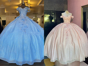 Shimmering Baby blue Pink 2021 Cheap Quinceanera Prom Dresses 3D Floral Flowers Off Shoulder Ball Gown Sweet 16 Dress Vestidos 15 Anos