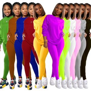 women's autumn and winter new leisure sports pants two-piece sets fashion solid color round neck Long sleeve trousers Jogging Suit