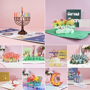 3D Get Well Soon Card Pop-Up Flowers Greeting Card Sympathy Mothers Day Wedding Anniversary Birthday Postcards