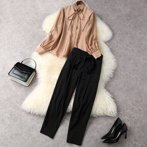 2021 Spring Long Sleeve Round Neck White Pure Color Ribbon Tie Bow Blouse + High Waist Mid-Calf Pants Two Piece Suits 2 Pieces Set LF2511892