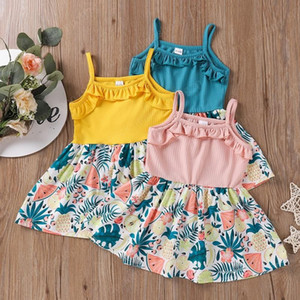 2021 Summer Korean Little Girl Sling Fruit Print Dress Baby And Toddler Ruffed Suspender Dresses Newborn Princess Skirts Clothes