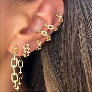 6pcs / 세트 패션 펑크 스타일 후프 귀 커프 여성 골드 컬러 귀걸이 개인화 된 금속 두꺼운 체인 귀걸이 세트