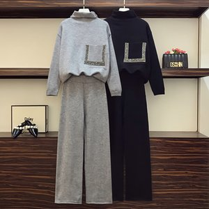 2021 New Merchall Winter Women Casual Knit Sweaters Trousers Sets Beading Knitting Turtleneck Pullovers+wide Leg Pants Two Pieces Suits X1F2