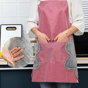 Straight wipe hand apron waterproof oil proof large pocket portable coral velvet